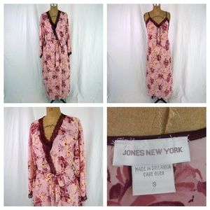 JONES NEW YORK Floral Chiffon Nightgown Robe Set S